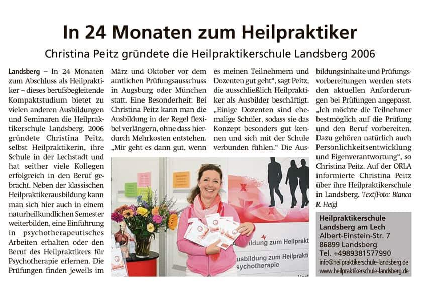 Heilpraktikerschule Landsberg Pressebericht Weilheimer Tagblatt Oktober 2019